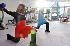Muslim women exercising.