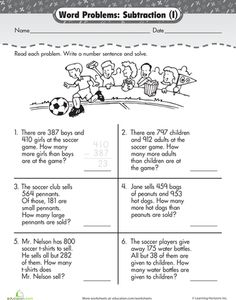 Word Problem Fun: 3-Digit Subtraction at the Game | The games, For ...