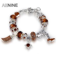 AENINE Crystal Tooth & High heels & CZ Crystal Charm Bracelet For Women With Murano Glass Beads Bracelet Bangle Jewelry PABR007