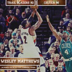 Awesome game....Trail Blazers 92. Celtics 86.