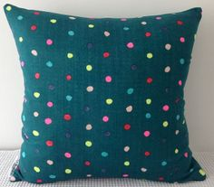 NEW Japanese fabric cushion cover in seaweed green background with colourful dots motif, throw pillow, decorative cushion