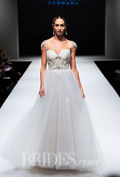 FALL 2015 WEDDING DRESS TRENDS: . Trend: Cutouts. Strapless A-line wedding dress with a sweetheart neckline, cutout bodice detail, and cap sleeves by Eve of Milady