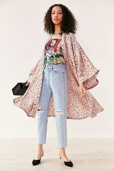 A starry, silky, and light-as-air kimono jacket for a criminally stylish method of wearing PJs in public. | 26 Products For People Who Like Being Comfy But Are Fancy AF