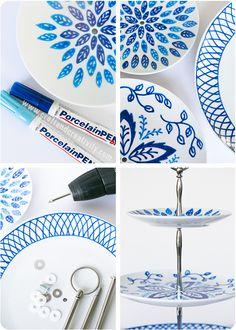 Handmålat kakfat - Pysseltips - Make & Create Painted cake Stand Sharpie Plates, Sharpie Crafts, Sharpie Art, Sharpies, Pottery Painting, Ceramic Painting, Ceramic Art, Porcelain Painting Ideas, China Painting