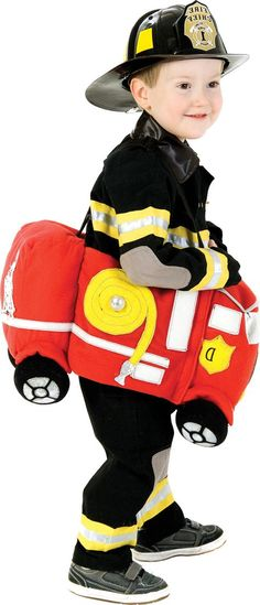 Toddler Boys Plush Ride in Firetruck Costume - Party City