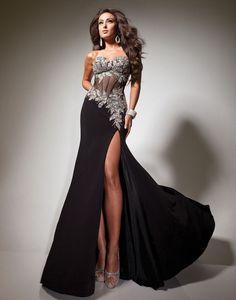beading side split floor length prom dress - uucdress.com