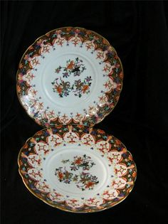 PAIR of ANTIQUE C J  MASON HAND PAINTED IRONSTONE PLATES c1813-29