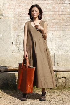 Wave/pleated cotton linen short dress/13 colors/custom made...