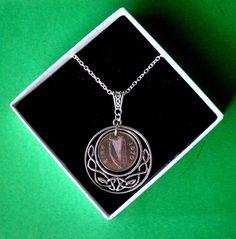 1970 Irish coin gift, Birthday Anniversary Gift from Ireland, Celtic Circle of Life on an Irish Harp or Charging Bull coin Celtic Circle, Celtic Knot, Etsy Jewelry, Jewellery, Charging Bull, Pretty Necklaces, Great Birthday Gifts, Circle Of Life, Harp