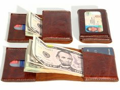 David Jackson is raising funds for Wrap Wallet - The best wallet in the world, made in the USA on Kickstarter! The most compact wallet possible, no folding bills necessary. Holds 10 cards and 15 bills in three pockets plus reversible ID window. Wrap Wallet, Edc Wallet, Pocket Wallet, Handmade Leather Wallet, Leather Gifts, Leather Craft, Leather Projects, Leather Accessories, Leather Working