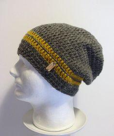Slouchy Beanie Gray Mustard Striped Mens - Crochet Slouch Beanie Guys Grey Beanie Hipster Hat - Gray Slouchy Beanie - Fall Apparel - Fashion