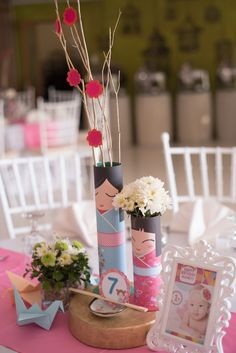 Audrey's Kokeshi Doll Themed Party – Table centerpiece …
