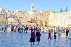Jewish children at the Western (Wailing) Wall Plaza in Jerusalem.