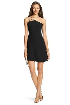 Bold beading and a one-shoulder silhouette add intrigue to this easy, flared LBD. Just add heels. Falls to above the knee. Fit is true to size.
