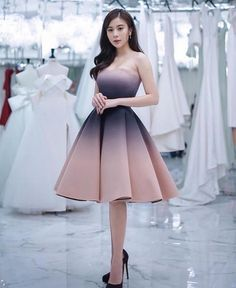 Classy dress, social dresses, grad dresses, dance dresses, homecoming d Grad Dresses Long, Cute Short Dresses, Unique Prom Dresses, Pretty Dresses, Homecoming Dresses, Strapless Dress Formal, Beautiful Dresses, Ombre Prom Dresses, Formal Skirt