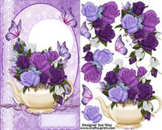Overflowing Tea Pot of Roses Card Front and Decoupage