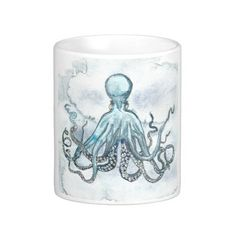 Blue Octopus White 11  or 15 oz Classic Mug 10oz Bone China Teacup From an original Watercolor Painting Ocean Beach Nautical Sea Life Fish by MBrothertonArt on Etsy