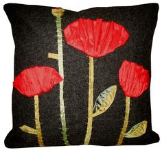 Silk Poppies on a grey wool background pop on this great pillow made by Elena at LenkArt on etsy.