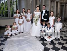 Crown Princess Victoria of Sweden and Prince Daniel, Duke of Vastergotland pose after their wedding with bridesmaids and page boys (L-R) Vera Blom, Catharina Amalia, Giulia Sommerlath, Princess Ingrid Alexandra of Norway, Vivien Sommerlath, Madeleine von Dincklage, Leopold Sommerlath, Ian De Geer and Prince Christian of Denmark in Storkyrkan Church on June 19, 2010 in Stockholm, Sweden. (Photo by Jonas Ekstromer - Pool/Getty Images)