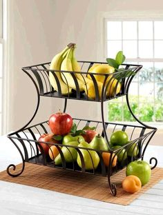 Countertop Two Tiered Fruit Basket Ornate Black Metal Shabby Chic Accent Piece
