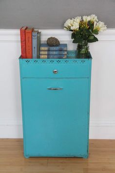 "Decorative Laundry Hamper Vintage Detecto""vanity Hamper"" Hand Painted Metal Clothes Hamper"