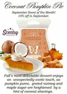 My Favorite time of the year is Fall!! I love everything about it especially the smell of fall and what better way to enjoy the smells of fall then to warm some Coconut Pumpkin Pie! Https://whitpennington.scentsy.us