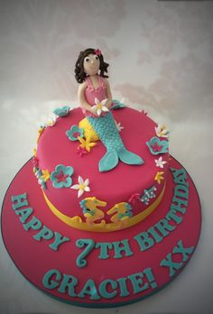 Rachels enchanting creations - another of my mermaid cakes with a under sea theme pink, blue and yellow x