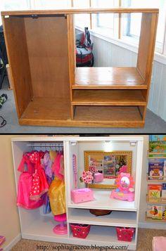ARTESANATO COM QUIANE - Paps,Moldes,E.V.A,Feltro,Costuras,Fofuchas 3D: Closet Penteadeira para meninas dress-up station