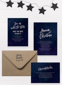 """Under the Stars"" Wedding Stationery by Bonjour Paper #starry night…"