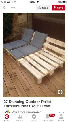 Pallet Outdoor Furniture Reclining Seats for Your Patio or Deck - Outdoor pallet furniture ideas help you make your backyard into an outdoor living area that you can enjoy with your family. Find the best designs! Diy Garden Furniture, Wooden Pallet Furniture, Diy Outdoor Furniture, Diy Pallet Furniture, Outdoor Decor, Furniture Ideas, Wooden Pallets, Outdoor Couch, Furniture Design