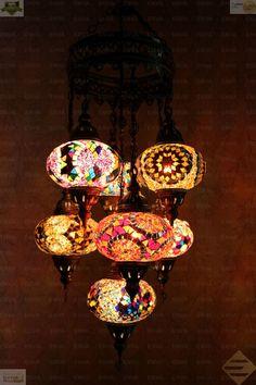 Multicolour Turkish Mosaic Hanging Lamp Light Hand Made 7 Large Globe Brass Base