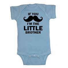 Mashed Clothing Baby Boys If You Mustache Im The Little Brother Bodysuit Light Blue 6 Months ** You can get more details by clicking on the image.Note:It is affiliate link to Amazon.