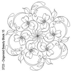 Digital Quilting Designs more dogwoods Adult Coloring Pages, Colouring Pages, Coloring Books, Ribbon Embroidery, Embroidery Patterns, Brush Embroidery, Parchment Craft, Mandala Coloring, Free Motion Quilting