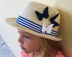 9cb56de0e4c Girls Straw Hat Kids Beach Hat Toddler Sun by ThinkButterfliesEtsy Toddler Sun  Hat