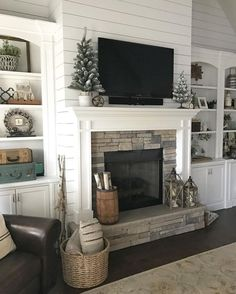 6 Glorious Clever Ideas: Living Room Remodel On A Budget Families living room remodel with fireplace interior design.Living Room Remodel On A Budget Families living room remodel with fireplace decor.Living Room Remodel With Fireplace Couch. Fireplace Redo, Fireplace Built Ins, Farmhouse Fireplace, Fireplace Surrounds, Fireplace Ideas, Farmhouse Decor, Shiplap Fireplace, Modern Farmhouse, Fireplace Stone