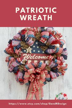 Show your support for our country and your patriotic pride with this stunning patriotic wreath. Available now in our Etsy shop. Patriotic Wreath, Patriotic Decorations, Upholstery Fabric Online, Welcome Wreath, Wreath Forms, Floral Fabric, Cotton Fabric, Summer Wreath, Wreaths For Front Door