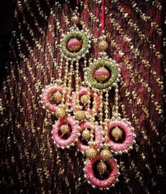 Lattoo for Lehenga Latkans - Super Pretty Trending Hanging Styles for your Wedding Lehenga - Witty Vows Thread Jewellery, Fabric Jewelry, Beaded Embroidery, Hand Embroidery, Saree Tassels Designs, Lehenga Designs, Stylish Blouse Design, Indian Wedding Planning, Bridal Blouse Designs