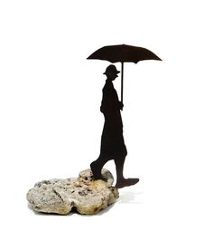 Metal and Stone Sculpture Original Iron Sculpture by Uri Dushy Man with Umbrella Unique Art