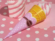Sweet Treats Collection Strawberry Swirl Ice Cream Cone Towel Favor