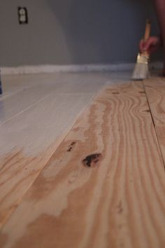 - Floors - DIY Plywood Plank Flooring DIY Plywood Plank Flooring – Truths of a Blessed Life. Staining Plywood, Stained Plywood Floors, Plywood Plank Flooring, Cheap Wood Flooring, Diy Wood Floors, Painted Wood Floors, Diy Flooring, Bedroom Flooring, Wood Planks