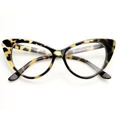 1950's Vintage Mod Fashion Cat Eye Clear Lens Glasses