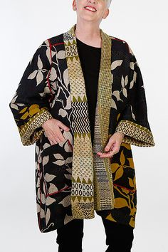 Kantha A-Line Jacket #21 by Mieko Mintz: Size 2 (18-24), One of a Kind available at www.artfulhome.com