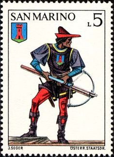 Sello: Uniforms- Crossbow archer of Serravalle Castle (San Marino) (Crossbow Tournament) Mi:SM 1046,Yt:SM 852,Un:SM 897