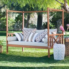 Relaxing outdoors will never be the same once you climb into the Belham Living Brighton Outdoor Daybed . This gorgeous bed practically transports you. Daybed Canopy, Patio Daybed, Outdoor Daybed, Outdoor Balcony, Resin Patio Furniture, Diy Garden Furniture, Outdoor Furniture, Outdoor Decor, Furniture Ideas