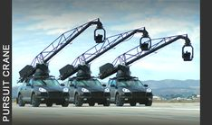 Pursuit Systems Inc. - Rigging and Camera Cars.  These Mercedes SUVs carry a crane with Gyro/Pan head, and provide shock absorbtion at their base - they are used on pretty much every large car commercial and many feature film car chases.