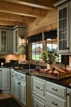 Log Homes & Cabins - Coventry Log Homes - The Bear Rock rustic kitchen ~ love the simplicity of these rustic kitchen cabinets
