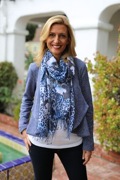 Look of the day - Wearing our Blue Knit Cropped Peplum Jacket and Navy Leopard and Floral Pring Scarf.  . ONLY 2 PIECES LEFT IN THE SCARF - Use code JS10 and get 10% off both items today plus Free US Shipping www.jacketsociety.com/shop