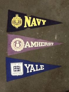 3 Vintage College Pennants- Navy, Yale & Amherst