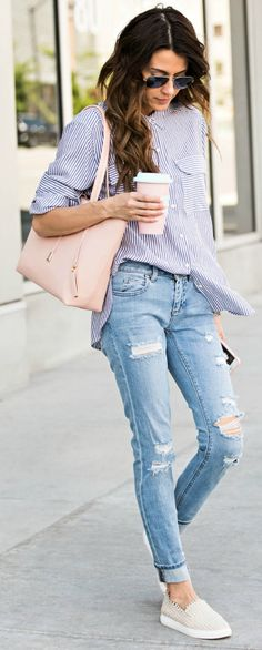 Pair denim jeans + classic striped button + Christine Andrew + cute and casual summer style + cool everyday outfit + perfect for wearing in the summer warmth! Shirt/Jeans/Shoes: Vince Camuto.                                                                                                                                                     More