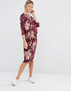 Image 4 ofBluebelle Maternity 3/4 Sleeve Floral Printed Bodycon Dress